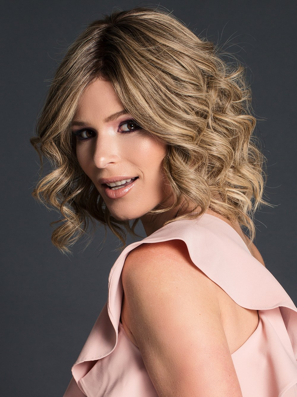 CARRIE by JON RENAU in 24BT18S8 | Medium Natural Ash Blonde and Light Natural Gold Blonde Blend, Shaded with Medium Brown