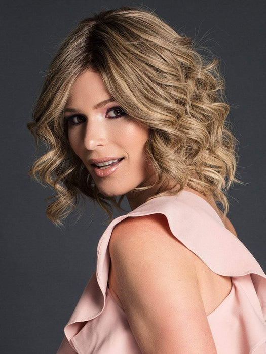 CARRIE by JON RENAU in 24BT18S8 | Medium Natural Ash Blonde and Light Natural Gold Blonde Blend Wig, Shaded with Medium Brown