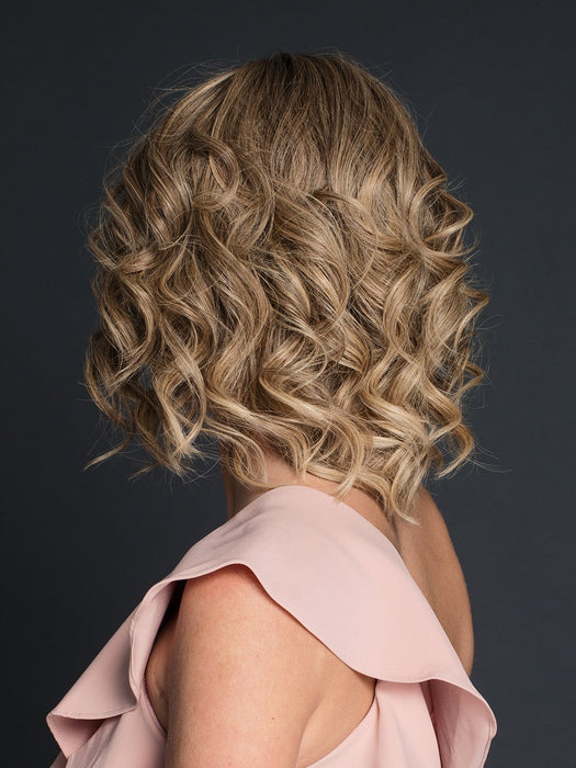 CARRIE by JON RENAU in 24BT18S8 | Medium Natural Ash Blonde and Light Natural Gold Blonde Blend, Shaded with Medium Brown  (This piece has been styled and curled)