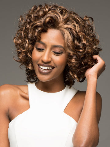 Lace Wig: CHILLI by VIVICA FOX in P4/27/30 | Piano Color. Medium Dark Brown, Honey Blonde, and Copper Blonde