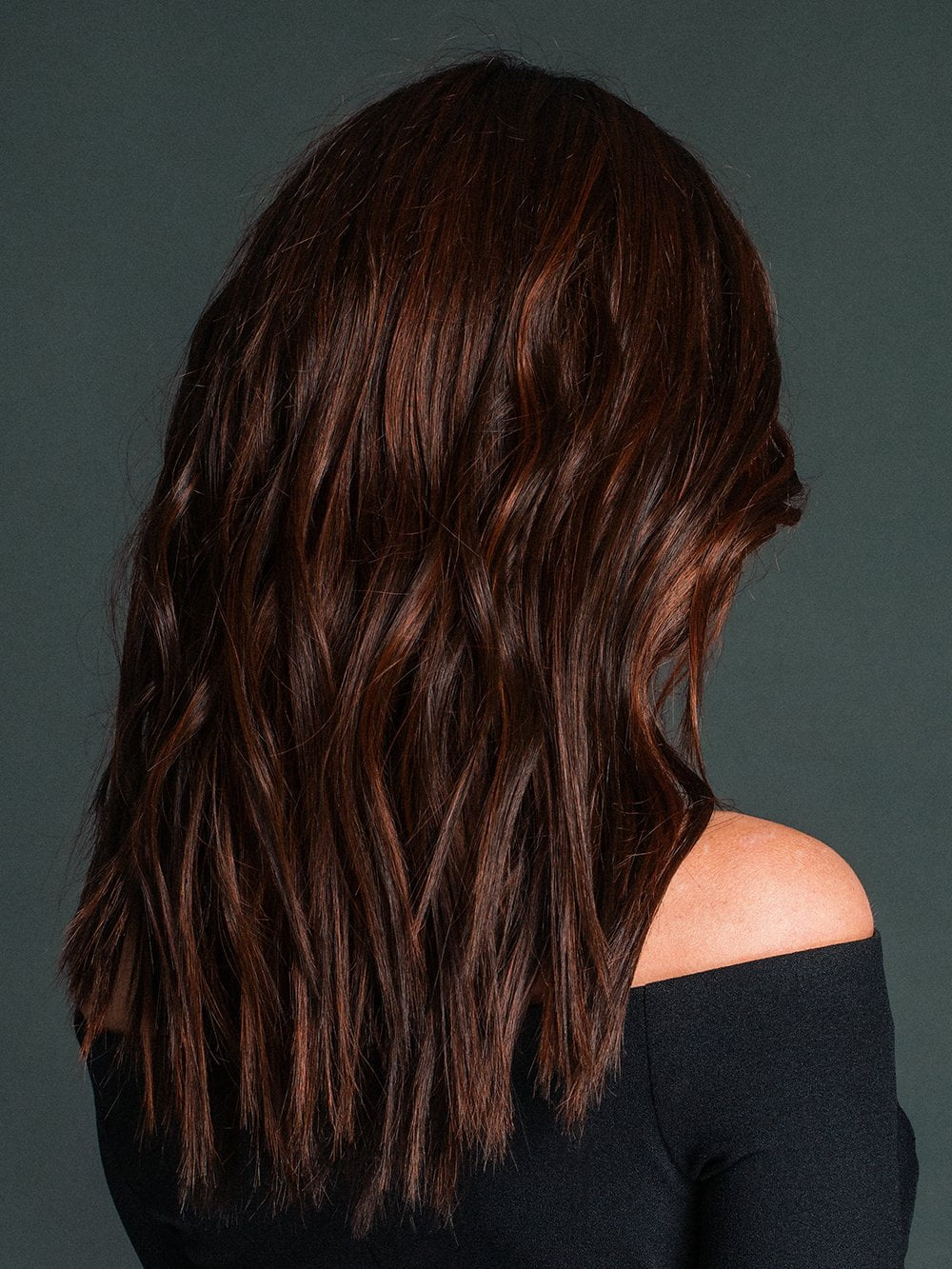 VERONICA by ENVY in CHOCOLATE CHERRY | Dark Brown roots with overall Medium Brown base with Deep Red highlights