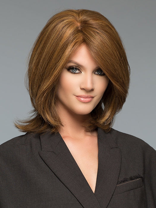 TIFFANY HAND-TIED by WIG PRO in CAMEL-BROWN Blend of Dark Brown, Light Chestnut Brown, and Dark Ash Blonde