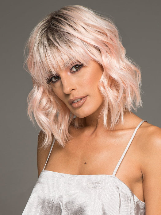 PEACHY KEEN by HAIRDO in PEACH | Light Peachy-Pink Rooted | The bangs were cut & customized for this photo
