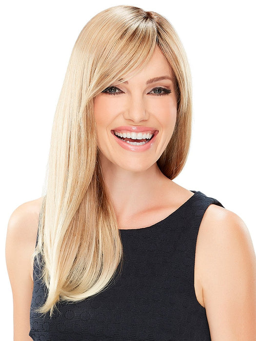 Elegant side swept bangs and cascading long layers