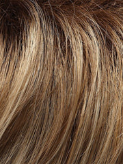 12FS8 - Light golden brown, Light natural golden blonde & Pale natural golden blonde shaded with dark brown roots