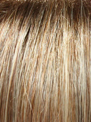 14/26S10 Shaded Pralines and Cream: Medium Ash Blonde and Caramel Blonde Blend with Light Brown roots