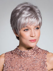 LIV by Rene of Paris in SILVER-STONE | Silver Medium Brown blend that transitions to more Silver then Medium Brown then to Silver Bangs