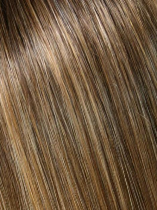 24BT18S8 SHADED MOCHA | Dk Ash Blonde/Honey Blonde Blend, Tipped, Shaded w/ Med Brown