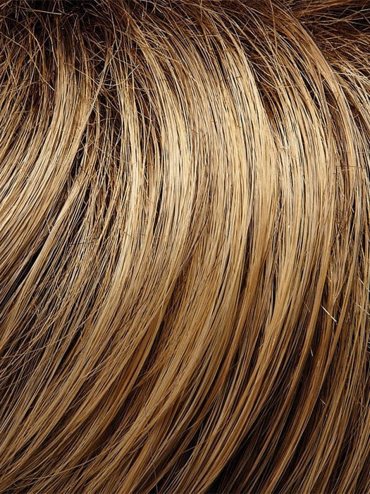 24BT18S8 - Medium natural ash blonde & Medium red golden blonde blend Shaded with medium brown roots