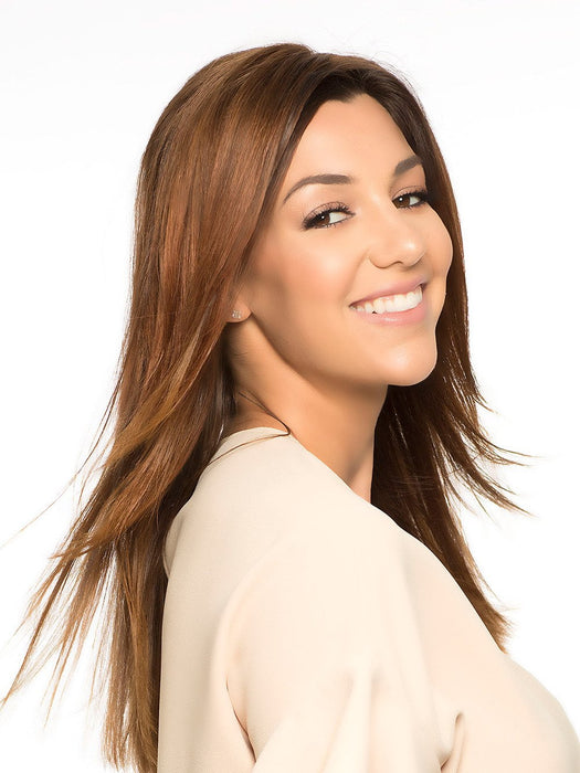 WIG PRO Front Line in 6/30T Medium Chestnut Brown Blended with Medium Auburn, Medium Auburn Tips
