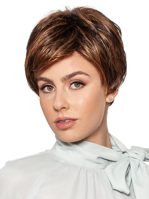 Khloe by Wig Pro is a short asymmetrical layered style with an angled bang
