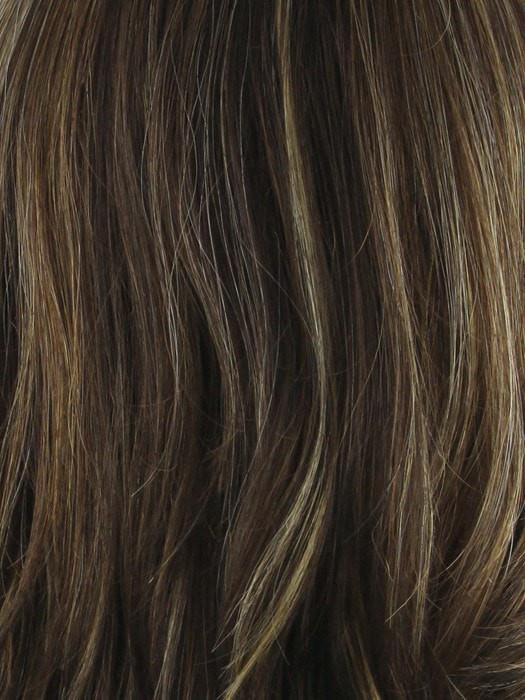 ALMOND ROCKA R | Rooted Dark Golden Brown base color with Strawberry Blonde and Bright Cooper evenly blended highlights