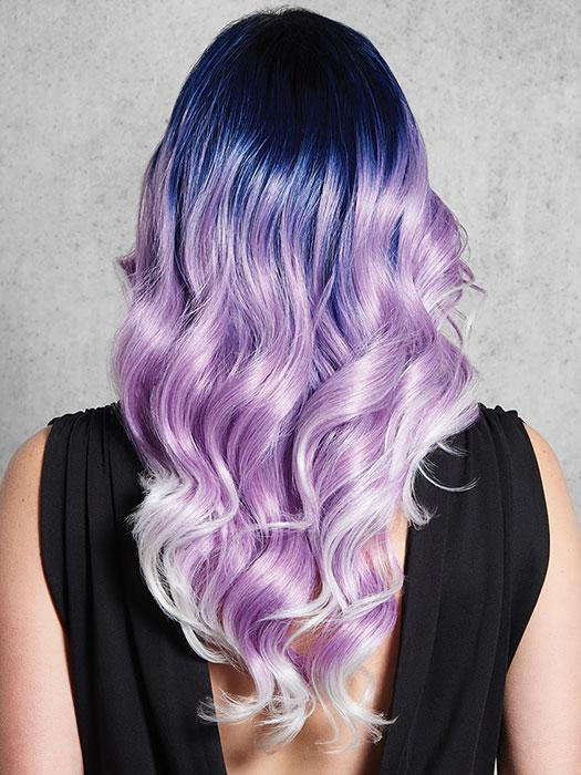 Color melt featuring cobalt blue, lavender and silver with a dark rooted base and graduating lighter towards the ends.