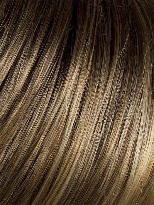 BERNSTEIN ROOTED | Light Brown Base with Subtle Light Honey Blonde and Light Butterscotch Blonde Highlights and Dark Roots