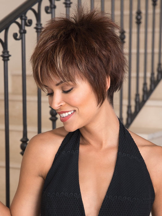 Billie Short Wig by Noriko features a modern take on the classic pixie cut.