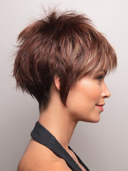Noriko Billie | Razberry Ice-R | Rooted Dark Medium Auburn base with Copper and Strawberry Blonde highlights