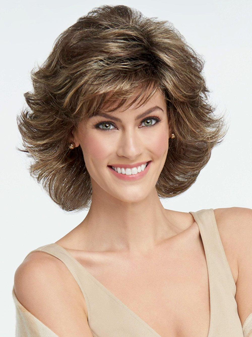 BREEZE by RAQUEL WELCH in SS10 SHADED CHESTNUT | Rich Medium Brown Evenly Blended with Light Brown Highlights and Dark Roots