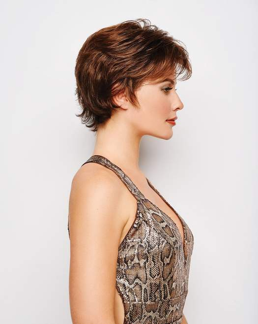This style features a hand-knotted top and sheer lace front for natural looking, off-the-face styling.