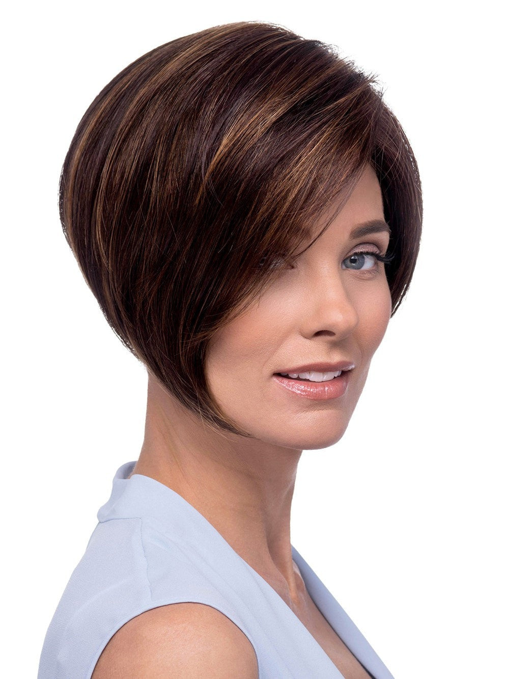 Short asymmetrical layered bob