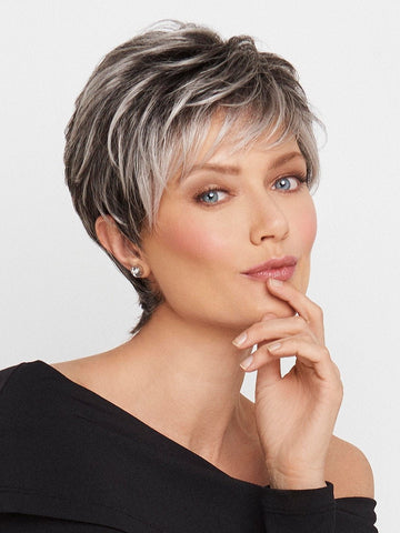 CRUSHING ON CASUAL by Raquel Welch in SS44/60 SHADED SUGARED LICORICE | Salt Dark Brown with Subtle Warm Highlights  Roots