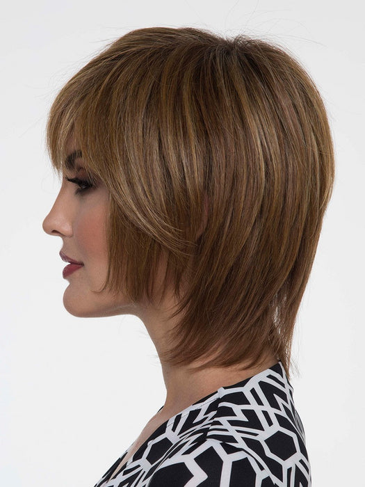 The Monofilament Top construction offers hand-tied sides and back, which allows you to part this wig left, right, or down the center