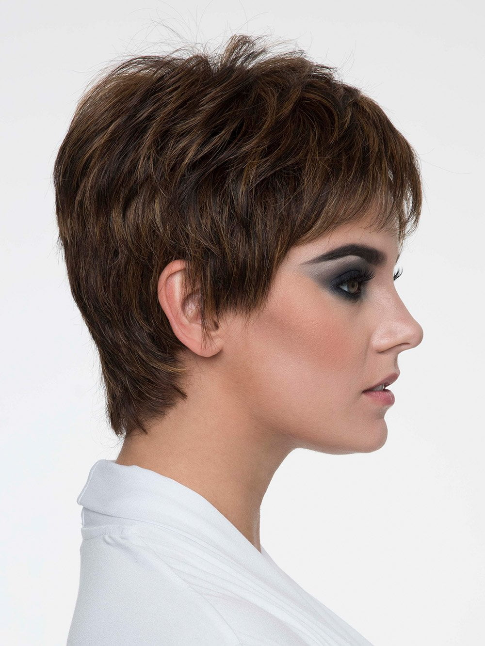 Always be in style with her classic pixie cut and sassy, piecey bangs