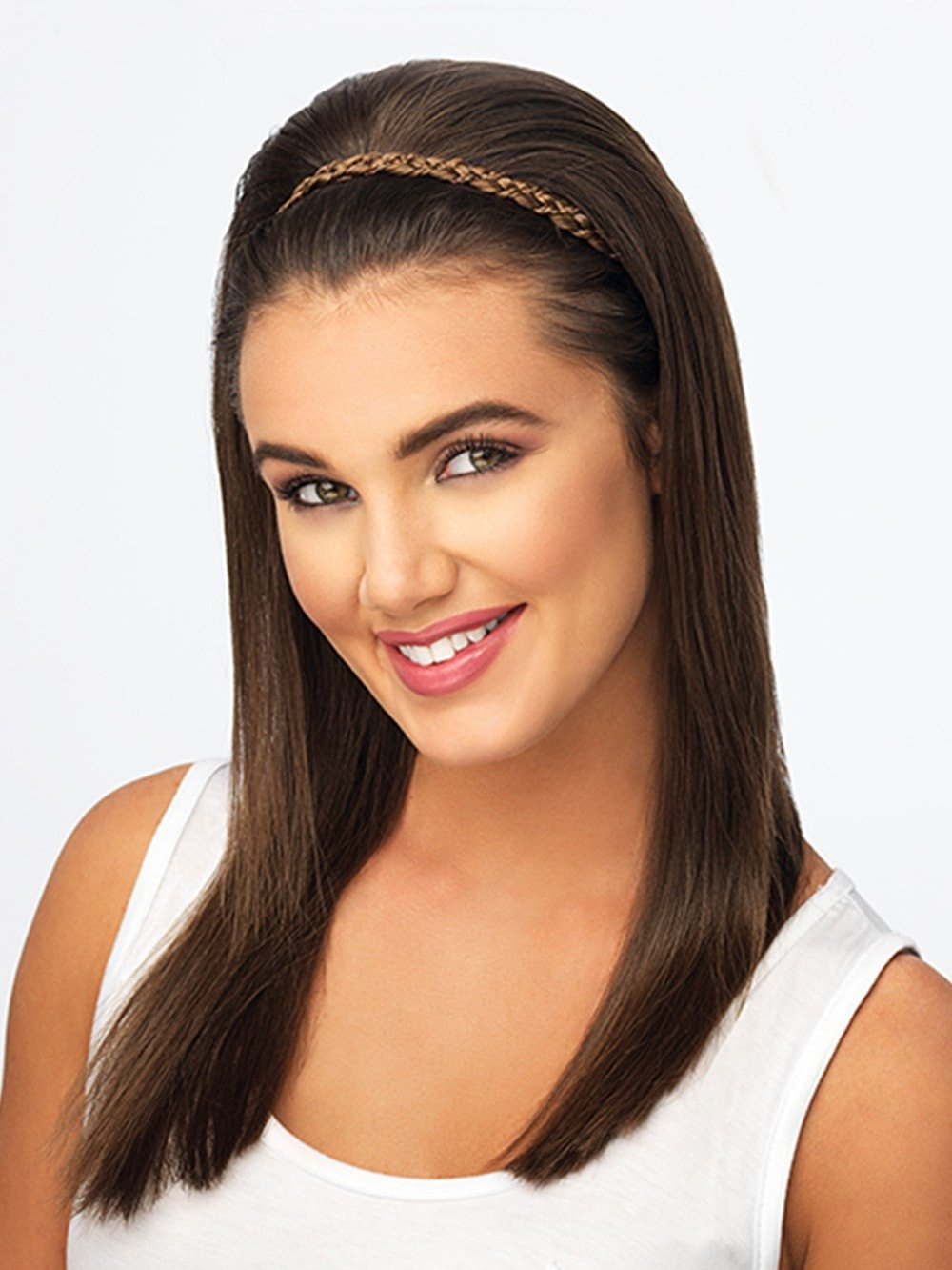 DOUBLE BRAID HEADBAND by POP by hairdo in R6/30H CHOCOLATE COPPER | Dark Medium Brown Evenly Blended with Medium Auburn Highlights