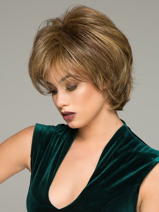 The Gratitude Wig is from the Gabor Essentials Collection and features a layered cut with added volume at the crown and a side bang.