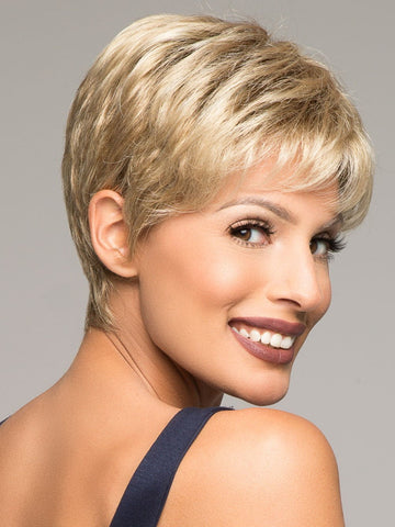 AIR by Ellen Wille in SANDY-BLONDE-ROOTED = Medium Honey Blonde, Light Ash Blonde, and Lightest Reddish Brown blend with Dark Roots