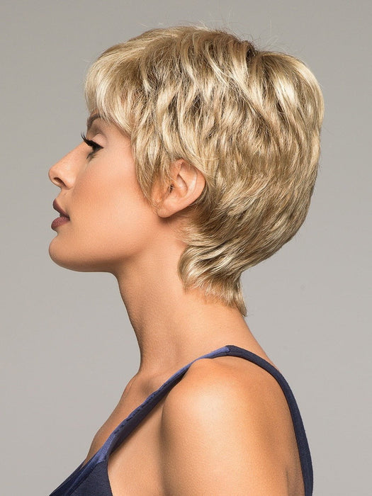SANDY-BLONDE-ROOTED = Medium Honey Blonde, Light Ash Blonde, and Lightest Reddish Brown blend with Dark Roots