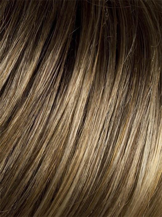BERNSTEIN-ROOTED | Light Brown base with subtle Light Honey Blonde and Light Butterscotch Blonde highlights and Dark Roots