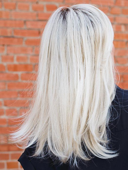 IMPRESS by ELLEN WILLE in PASTEL BLONDE ROOTED | Pearl Platinum, Dark Ash Blonde, and Medium Honey Blonde mix with Roots