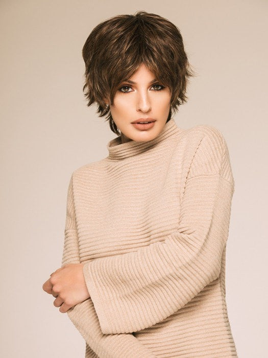 This trendy short wig features a monofilament crown.