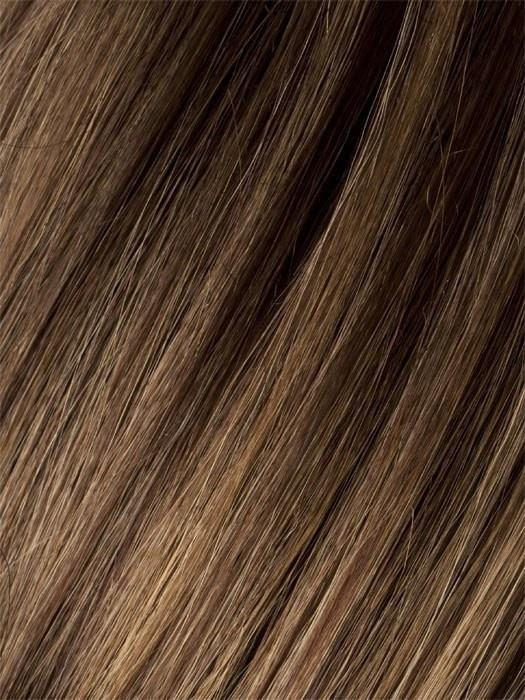 Color MOCCA-ROOTED = Medium Brown, Light Brown, and Light Auburn blend with Dark Roots