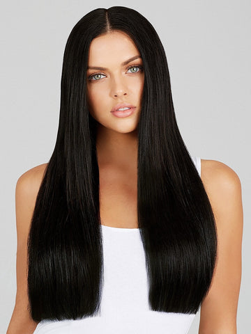 "24"" Clip-In Extensions 200 grams by LEYLA MILANI in 1B 