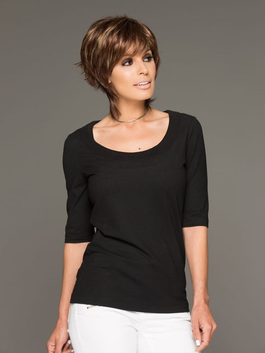 Noriko Millie is a short shag wig, a great cut that has been tailored for today's modern women. The precision cut and face framing fringe create a stunning silhouette
