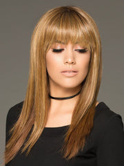 TARYN by Envy in GOLDEN NUTMEG | Medium Brown roots with overall Warm Cinnamon base and Golden Blonde hightlights