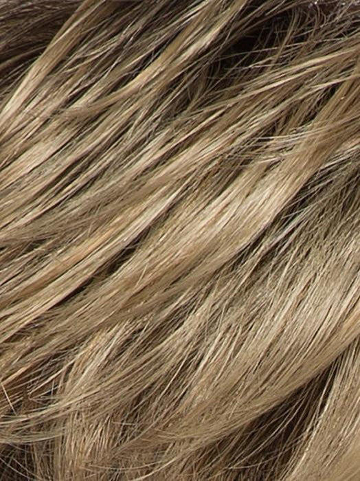 CARAMEL-ROOTED | Medium Honey Blonde, Dark Ash Blonde, and Medium Golden Blonde blend and Dark Brown Roots