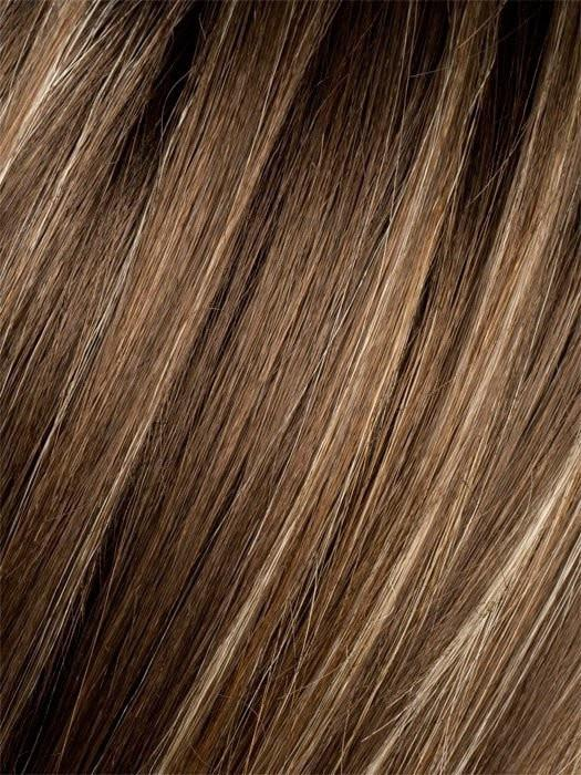 TOBACCO ROOTED | Medium Brown base with Light Golden Blonde highlights and Light Auburn lowlights and Dark Roots