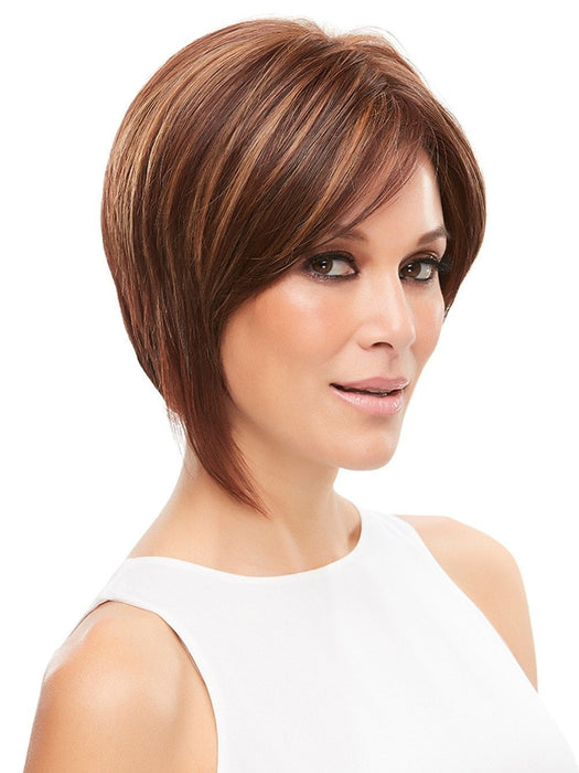 Asymmetrical stacked bob with lace front and an invisible monofilament cap