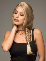 A braided wig with a center part and lace front