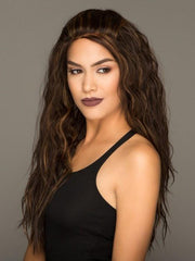 A long wavy wig with a lace front and heat-friendly fiber