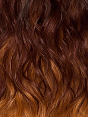 GM238B | Gradual Mix OMBRE color. Auburn Brown Top, Bright Red Middle, Dark Golden Platinum Blonde Bottom