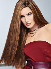 GLAMOUR AND MORE by RAQUEL WELCH in SS8/29 SHADED HAZELNUT | Rich Medium Brown Evenly Blended with Ginger Blonde Highlights with dark roots