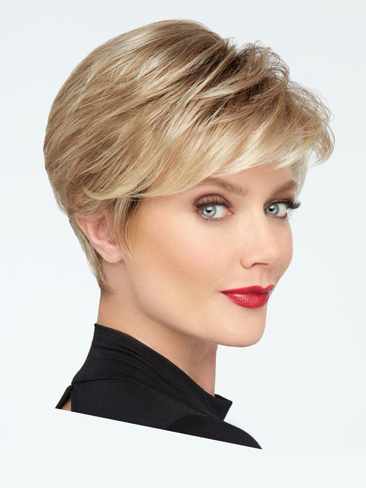 The longer, textured sides can be worn swept forward for a voluminous look or gently finger-styled behind the ears for a more streamlined effect.