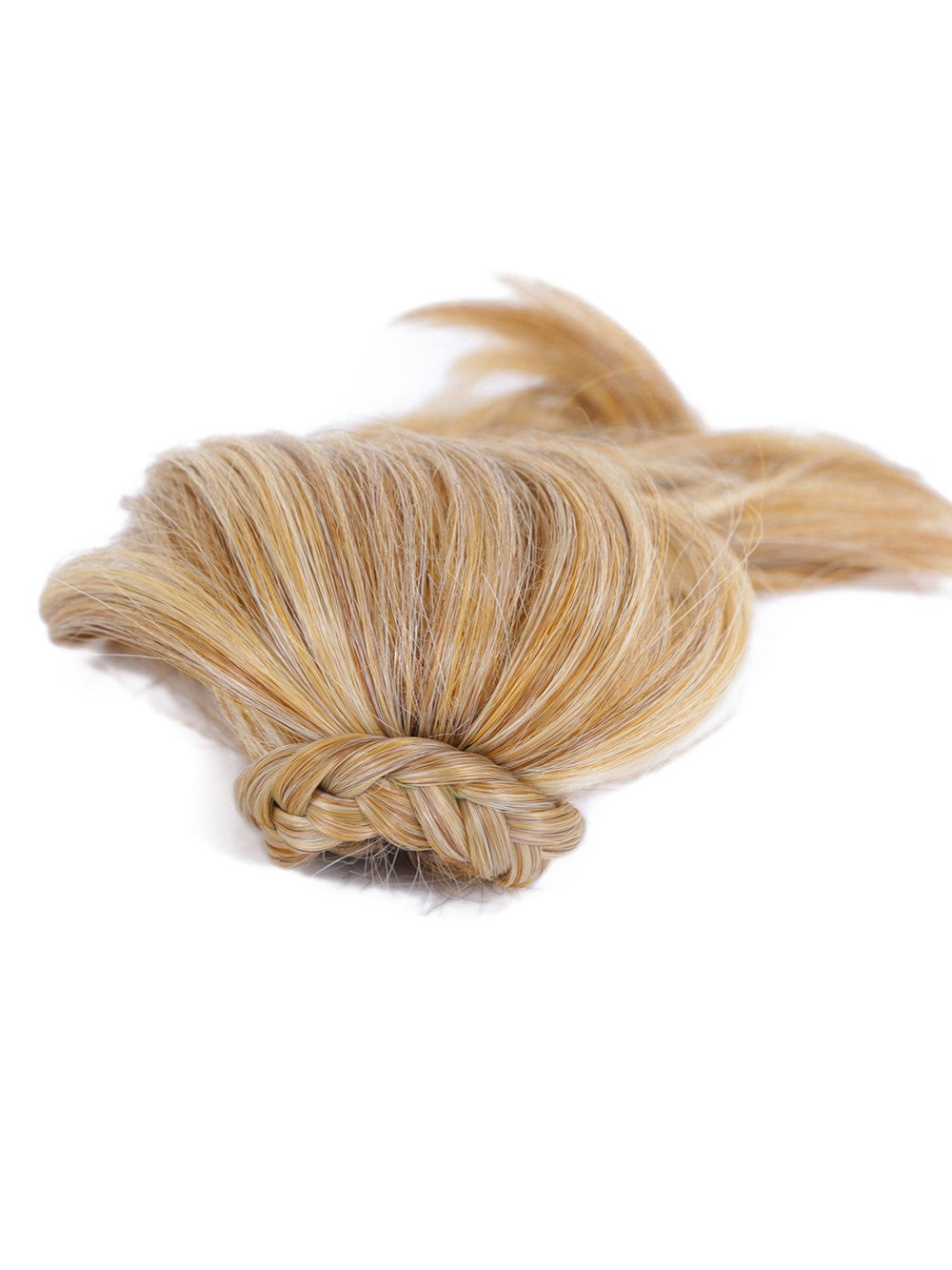 "Tru2Life heat-friendly synthetic hair ponytail, 10"" long."