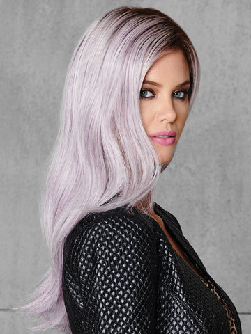 The long lilac hair is tipped and topped with a darker root to make it bold but believable.