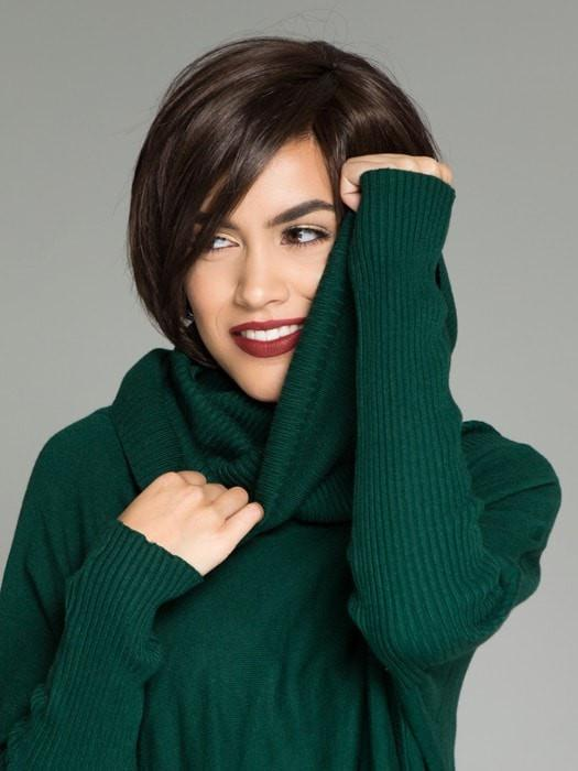A chin-length, angled bob with a side bang and tapered neckline