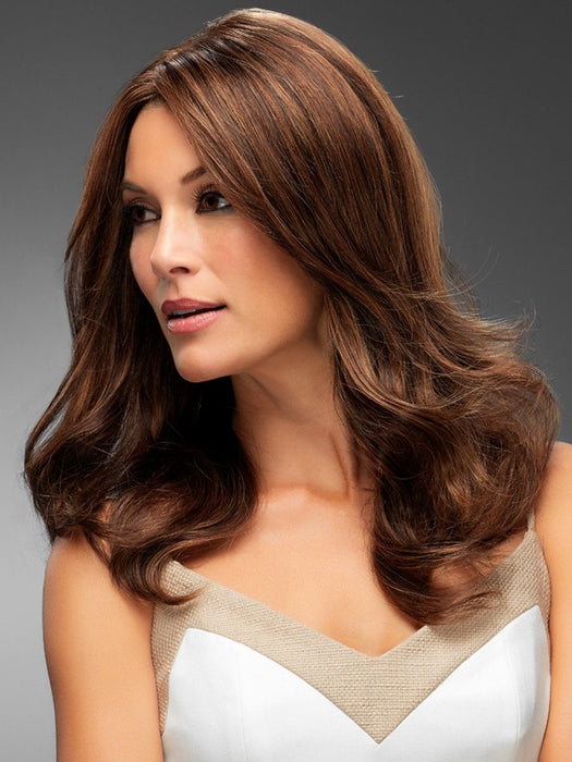 ANGIE by Jon Renau in 6F27 CARAMEL RIBBON | Dark Brown with Light Red-Gold Blonde Highlights and Tips