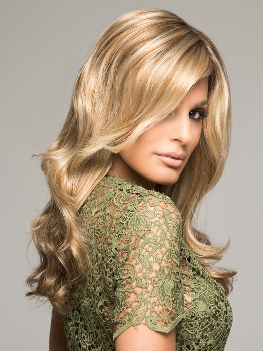 ADRIANA by Jon Renau in 12FS8 SHADED PRALINE | Medium Natural Gold Blonde, Light Gold Blonde, Pale Natural Blonde Blend, Shaded with Dark Brown